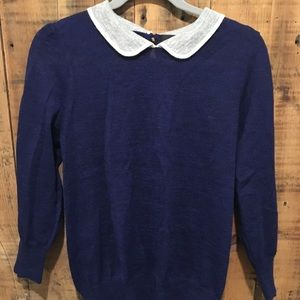 J Crew Peter Pan Collar Wool Sweater